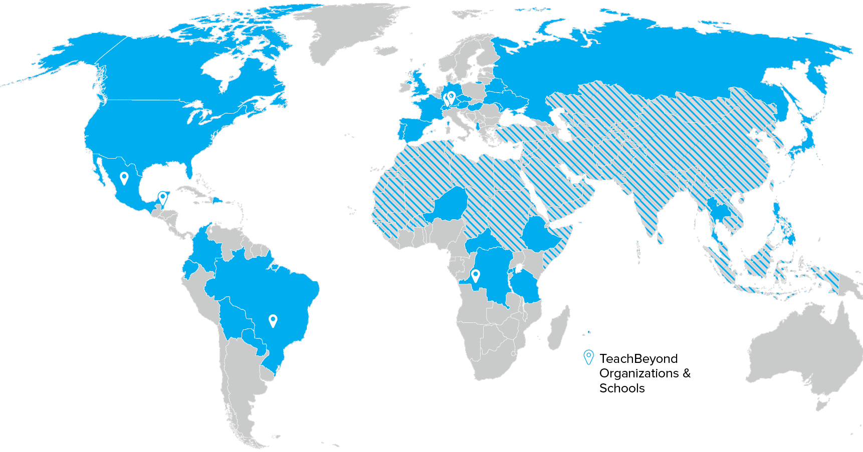 Areas where TeachBeyond serves